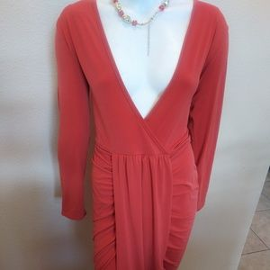 Dresses & Skirts - Plus Size Coral Draped Maxi Dress